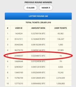 Freebitcoin lottery at freebitco.in