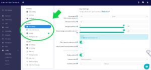 Cryptohopper Einstellungen: buy settings configuration