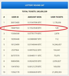 Freebitco.in lottery win 1500$ bitcoin faucet