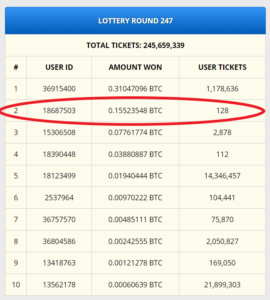 Freebitcoin Lotterie auf freebitco.in 1500$ gewonnen!